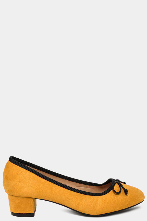Yellow Vegan Suede Bow Front Low Heel Pumps - SinglePrice