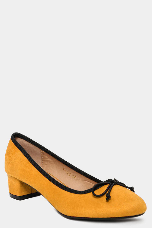 Yellow Vegan Suede Bow Front Low Heel Pumps-SinglePrice
