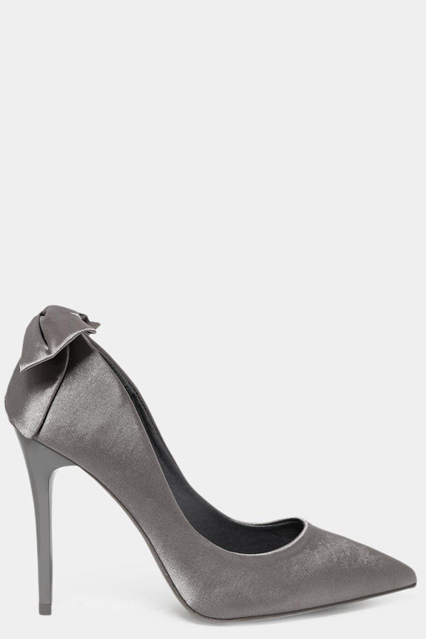 Grey Satin Bow Stiletto Heels - SinglePrice