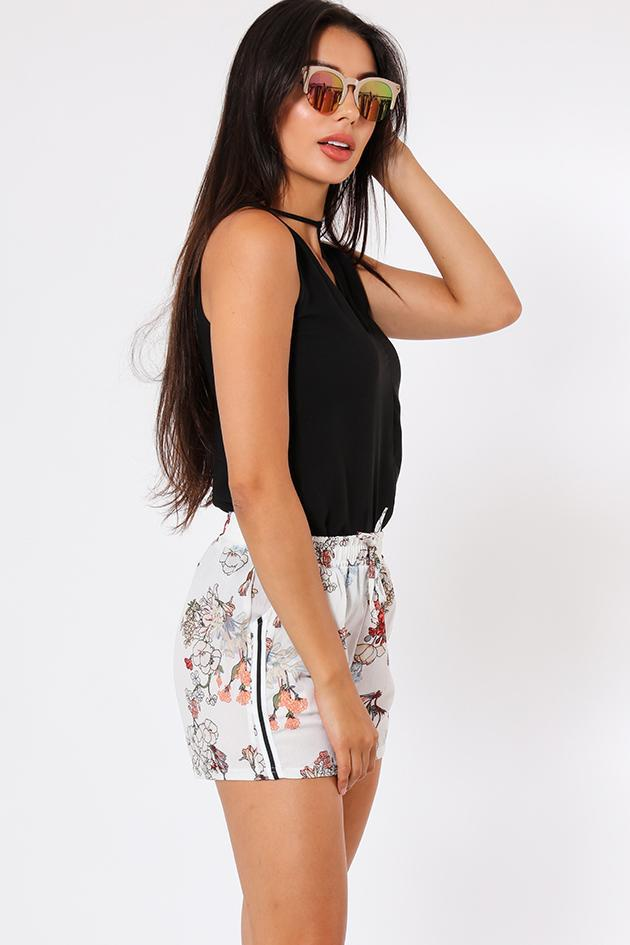Side Stripe White Floral Print Shorts-SinglePrice