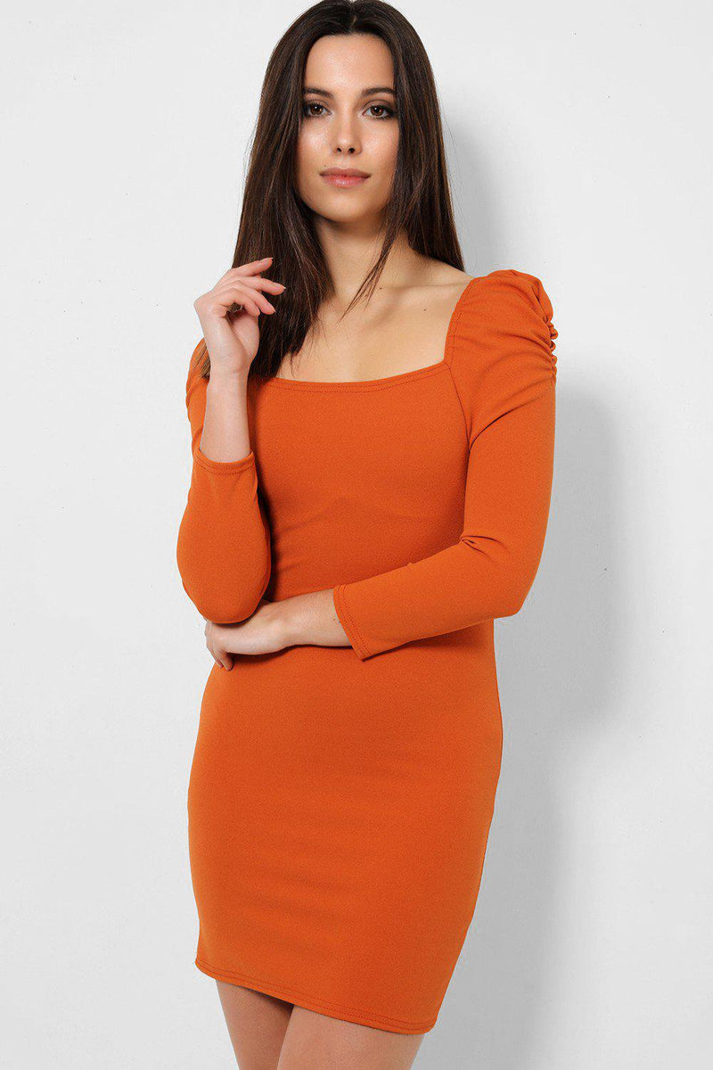 Orange Square Neck Puff Sleeves Bodycon Mini Dress - SinglePrice