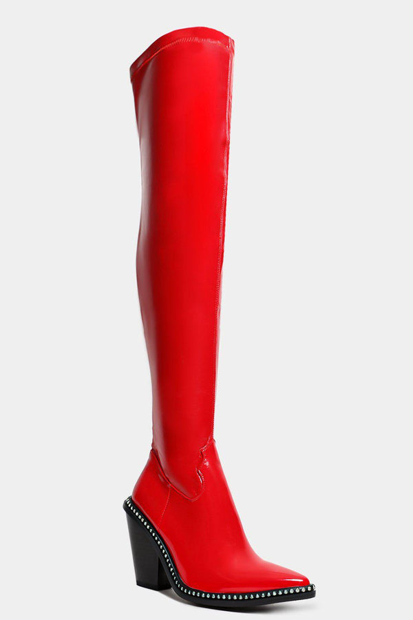 Solid Red Beaded Sole Vegan Leather Over The Knee Boots - SinglePrice