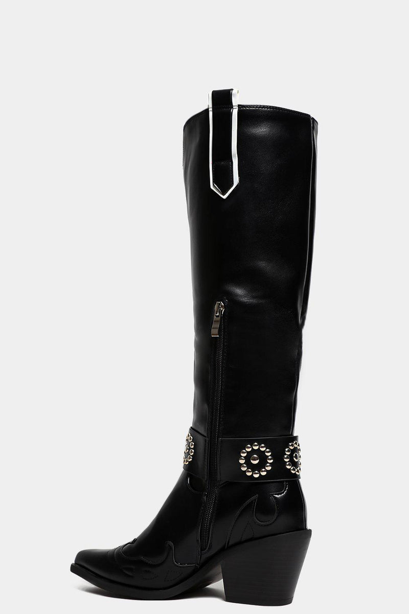 Black Beaded Strap Vegan Leather Knee High Cowboy Boots - SinglePrice
