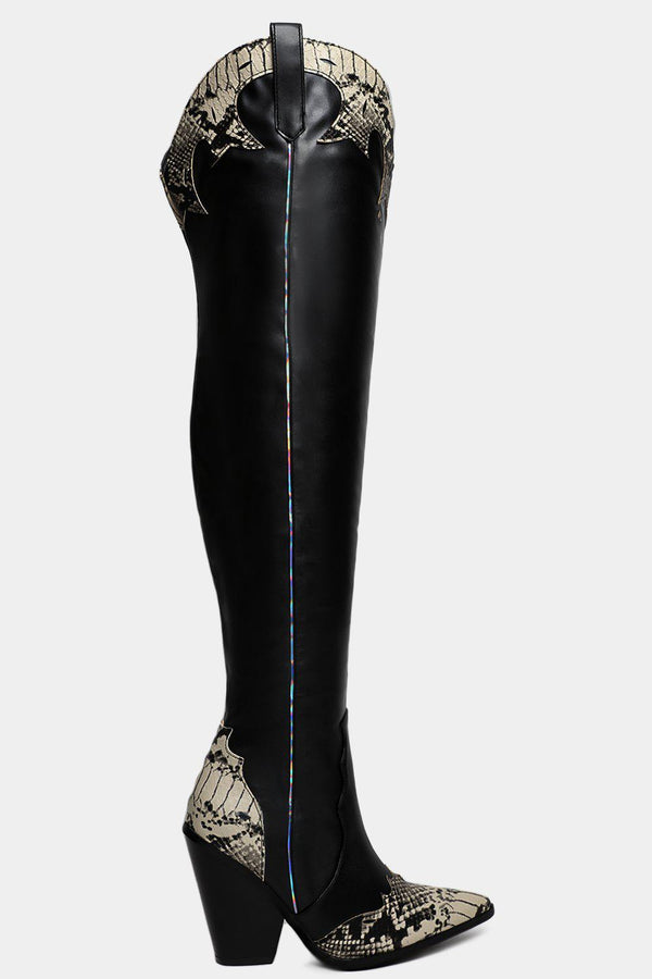 Black Python Panels Vegan Leather Over The Knee Cowboy Boots - SinglePrice