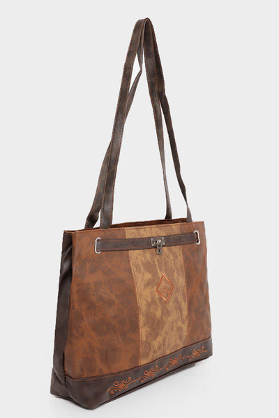 Brown Panels Embroidered Brown Handbag-SinglePrice