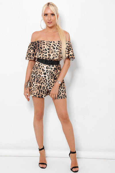 Off Shoulder Leopard Print Playsuit-SinglePrice