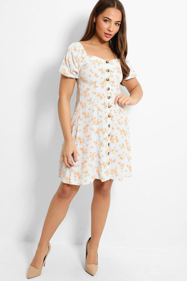 Blue Orange Flowers Print Sweetheart Tea Dress-SinglePrice