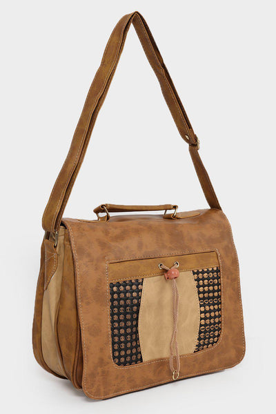 Studded Front Pocket Small Brown Satchel-SinglePrice