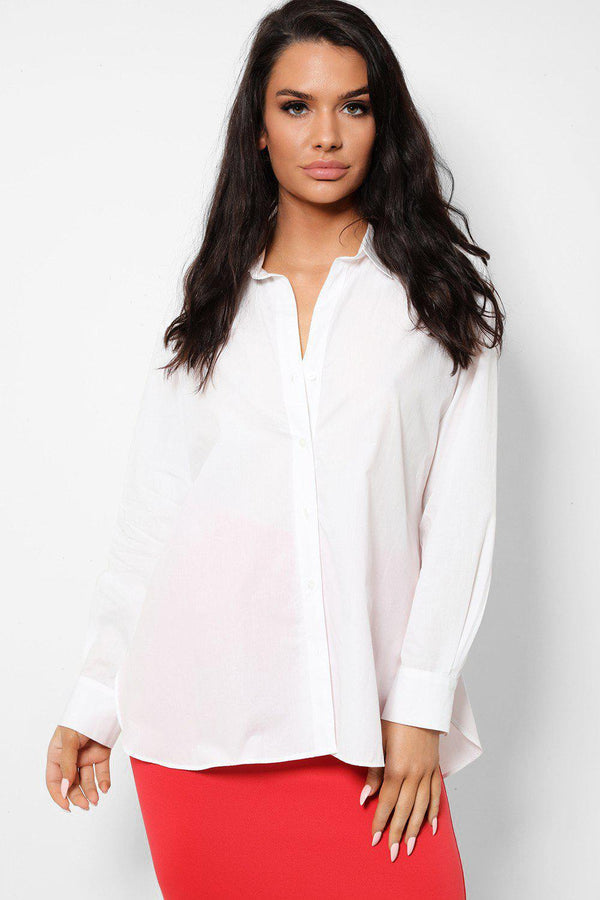 White Classic Buttons Front Cotton Shirt - SinglePrice