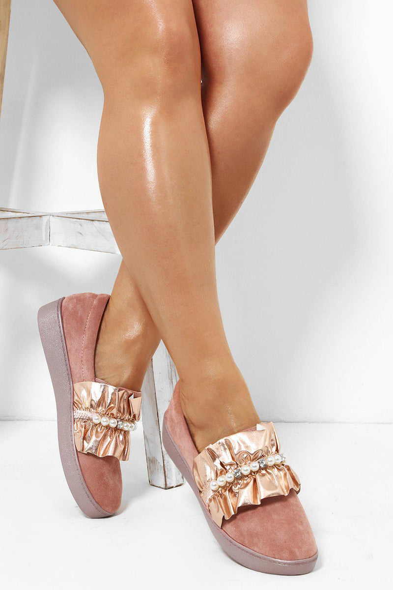 Shimmer Ruffle Pearls Embellished Pink Flats - SinglePrice
