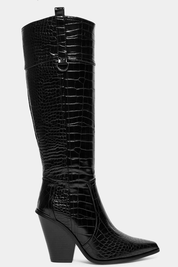 Black Mock Croc Knee High Cowboy Boots-SinglePrice
