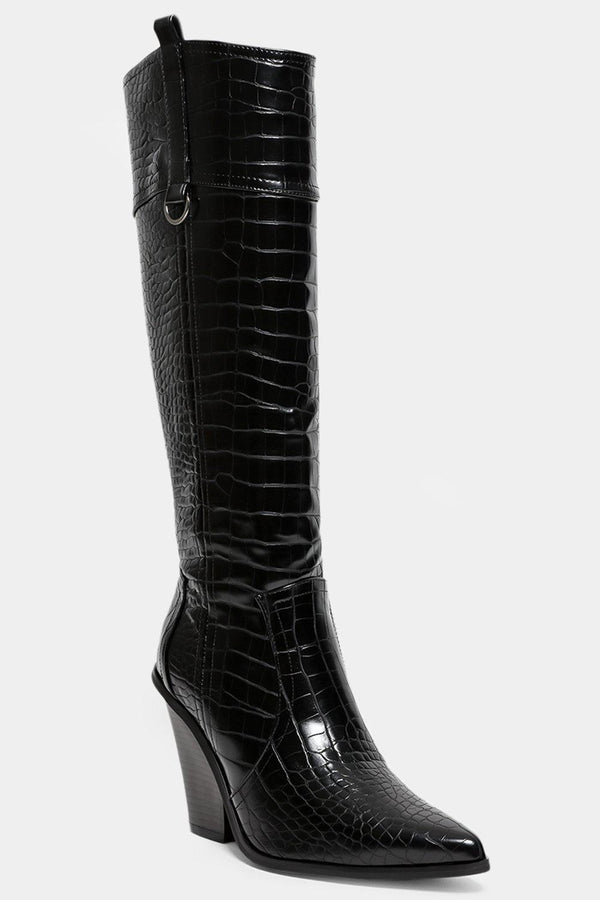 Black Mock Croc Knee High Cowboy Boots - SinglePrice