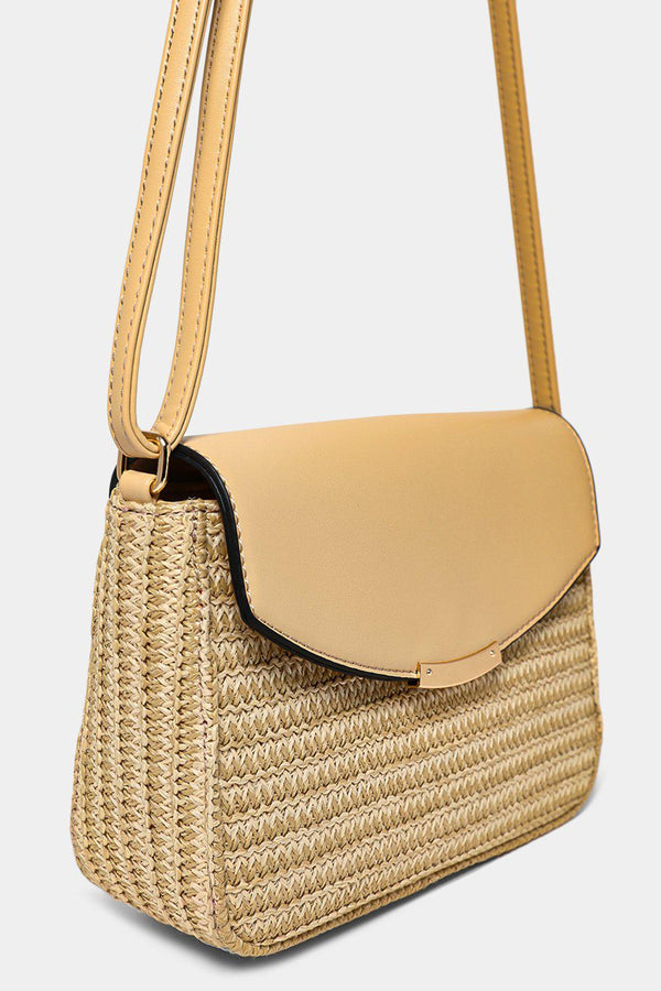 Apricot Faux Straw Mini Crossbody Bag-SinglePrice