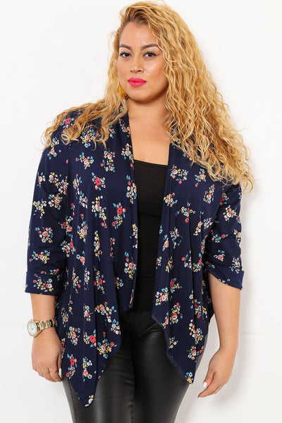 Floral Print Open Front Navy Blazer-SinglePrice