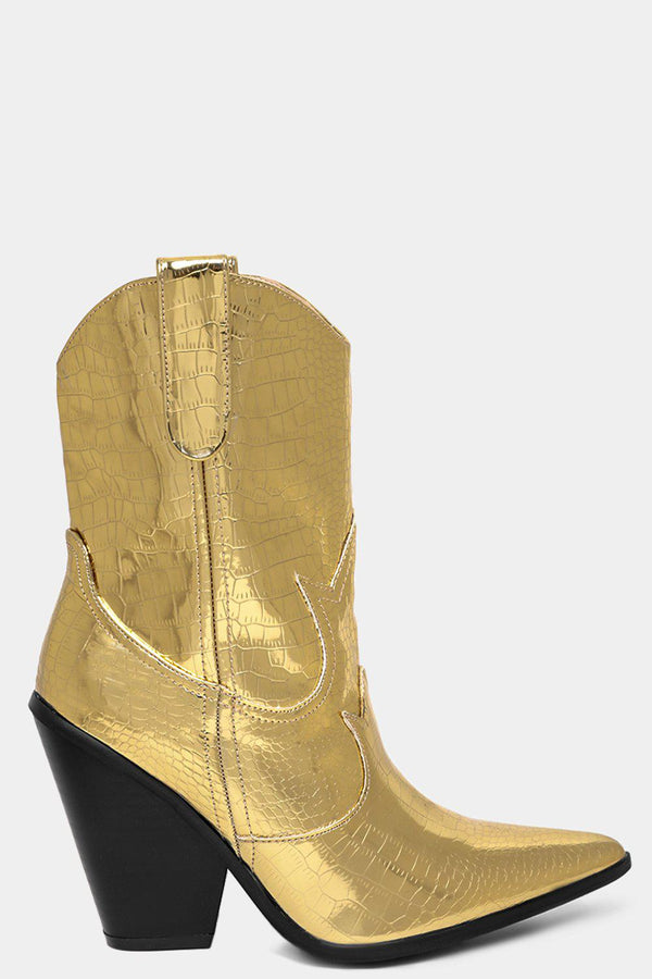 Gold Mirror High Shine Mock Croc Cowboy Boots - SinglePrice
