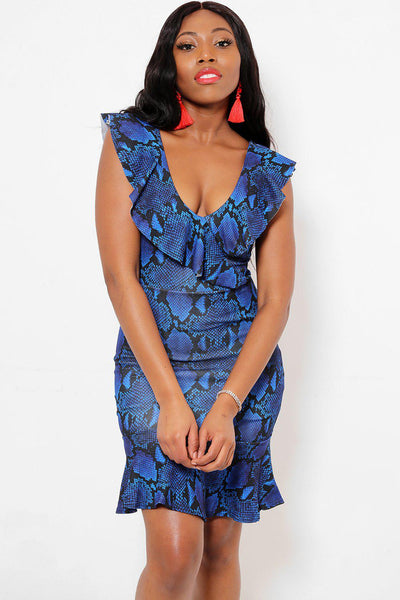 Frilled Blue Snake Print Dress-SinglePrice