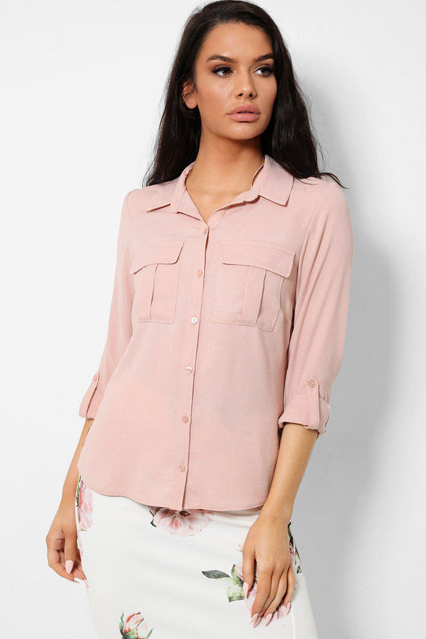 Faded Pink Roll-Up Sleeves Lightweight Chiffon Shirt-SinglePrice