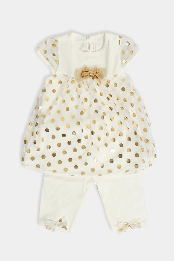 Cream Gold Foil Dobby Mesh Baby Girl Set - SinglePrice