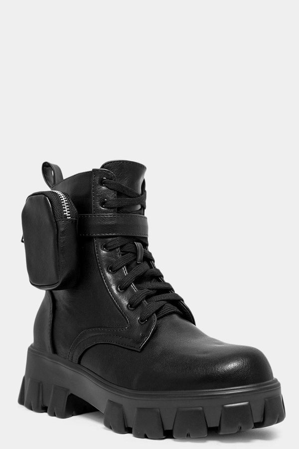 Black Vegan Leather Pouch Detail Boots - SinglePrice