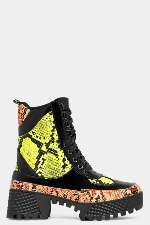 Neon Python Print Panels Chunky Tractor Ankle Boots-SinglePrice