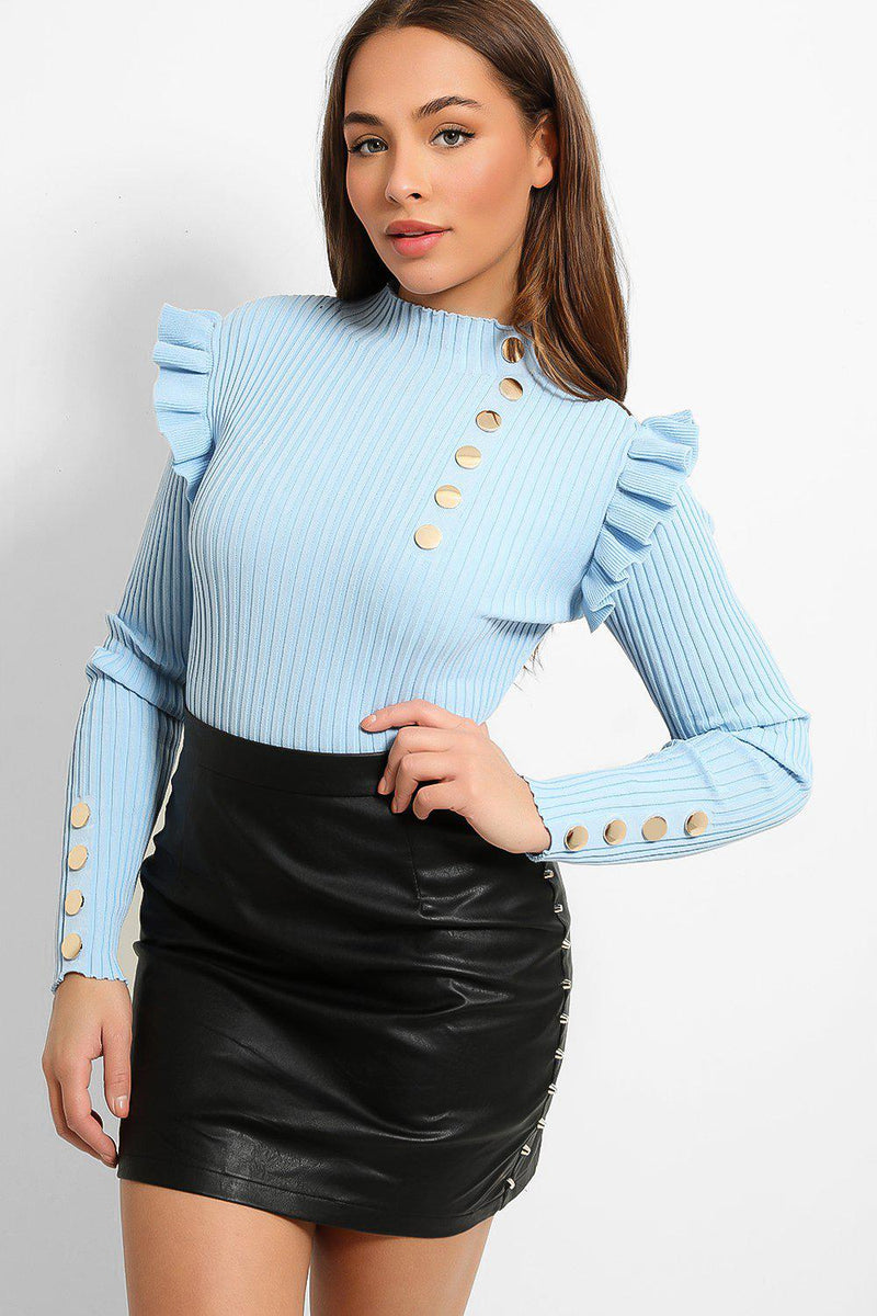 Sky Blue Ribbed Knit Gold Buttons Details Frill Shoulder Pullover - SinglePrice