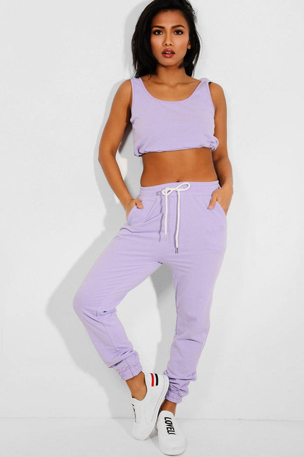Lilac Cropped Tank Top And Sweatpants 2 Piece Tracksuit - SinglePrice