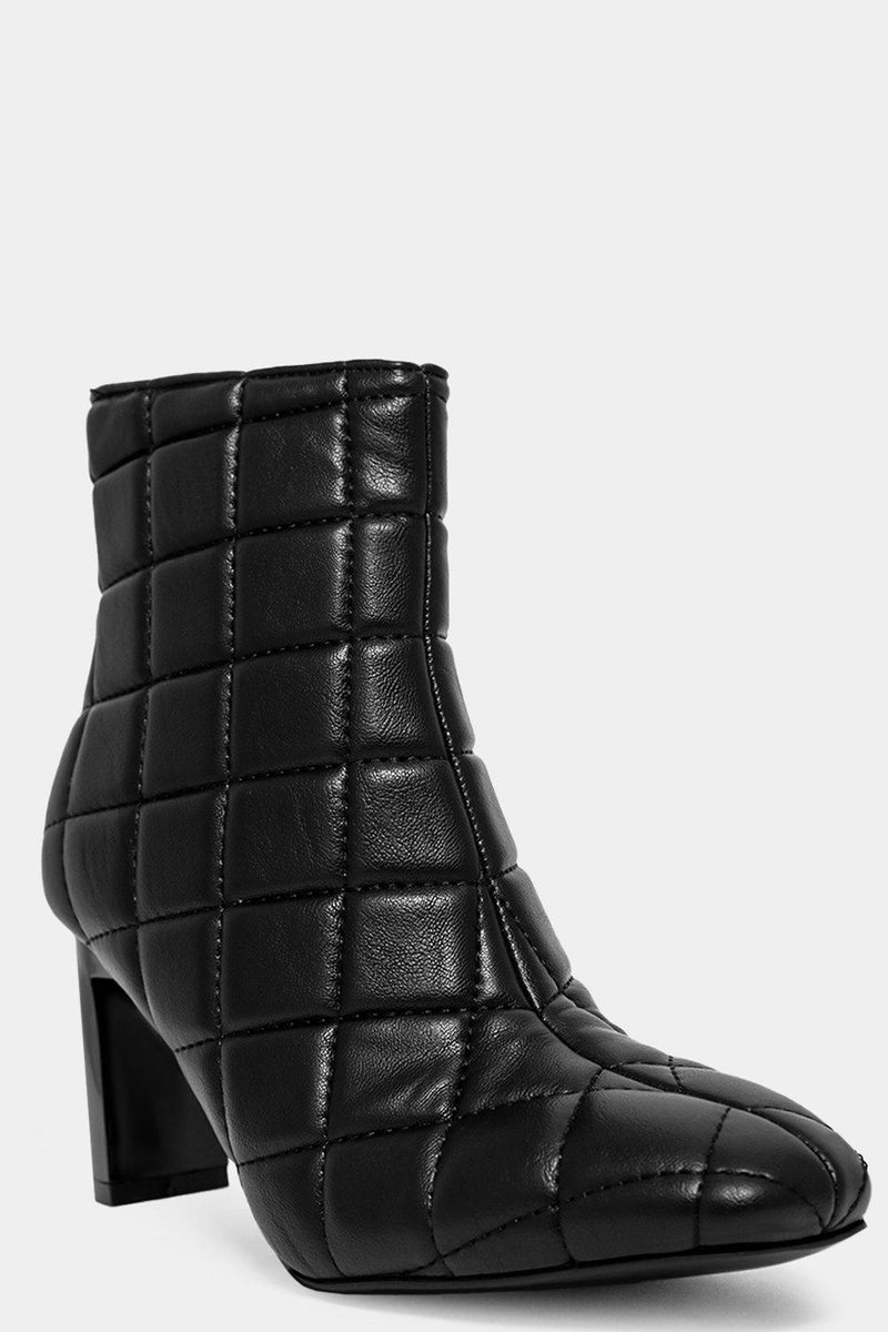 Black Vegan Leather Quilted Pointy Ankle Boots - SinglePrice