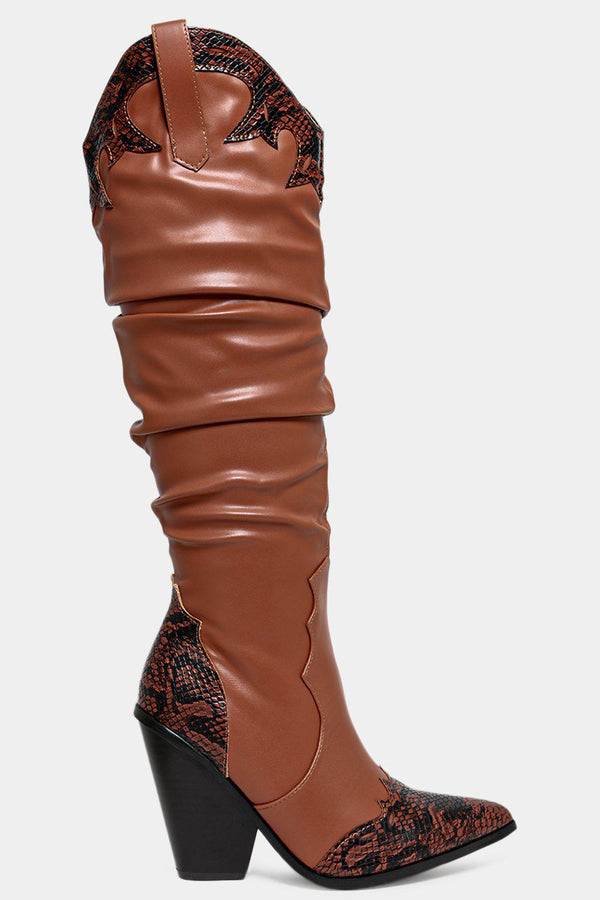 Camel Snake Panels Ruched Knee High Cowboy Boots - SinglePrice