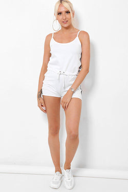 Cami White Playsuit With Side Stripes - SinglePrice