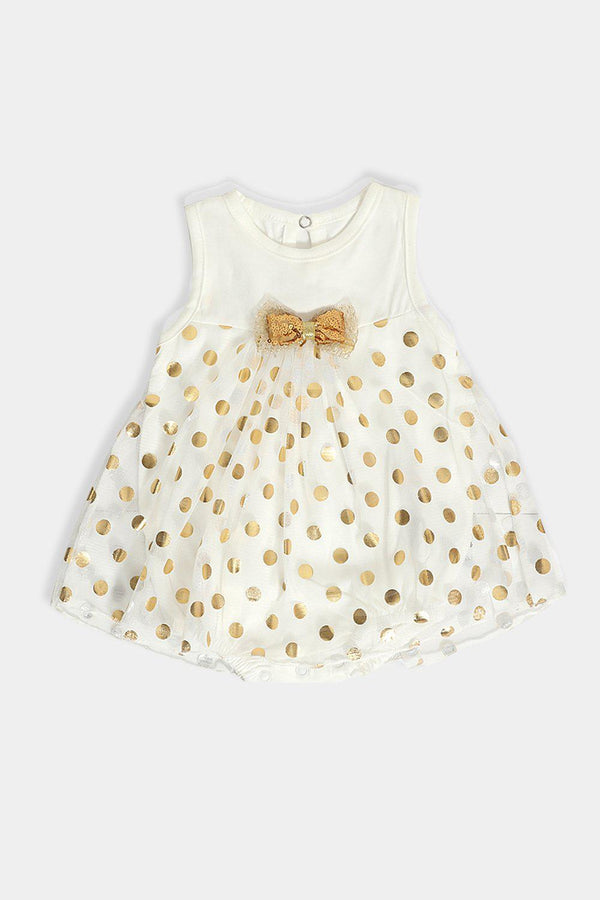 Cream Gold Dobby Mesh Baby Girl Dress Bodysuit - SinglePrice