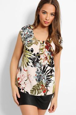 Pink Tropical Print Pleated Neck Top - SinglePrice