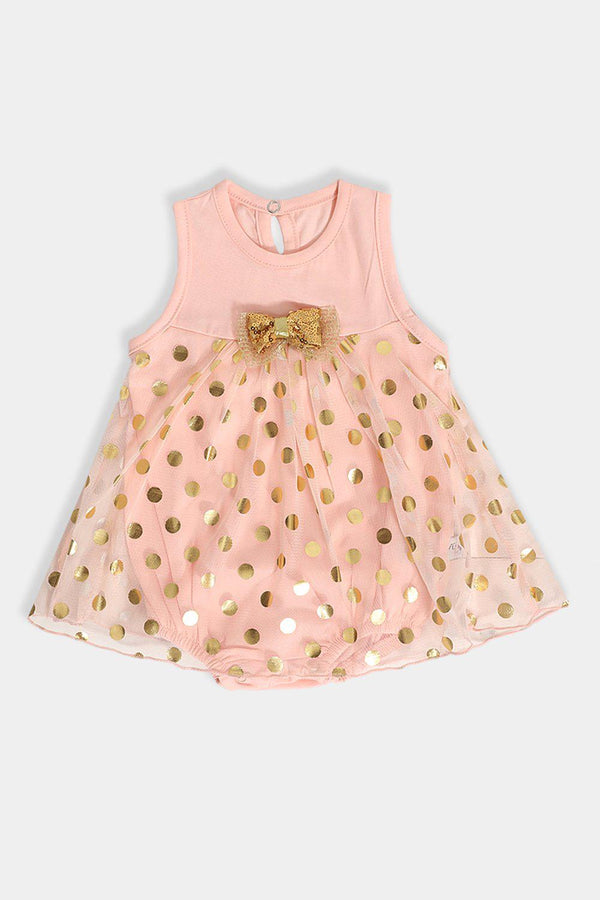 Salmon Gold Dobby Mesh Baby Girl Dress Bodysuit - SinglePrice