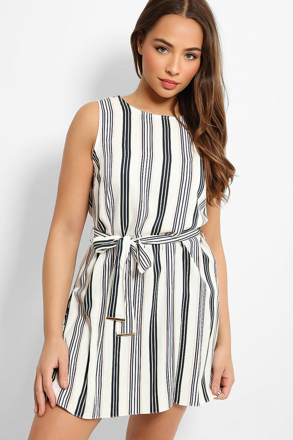 Multicolour Stripe Self-Belt Side Splits Top-SinglePrice