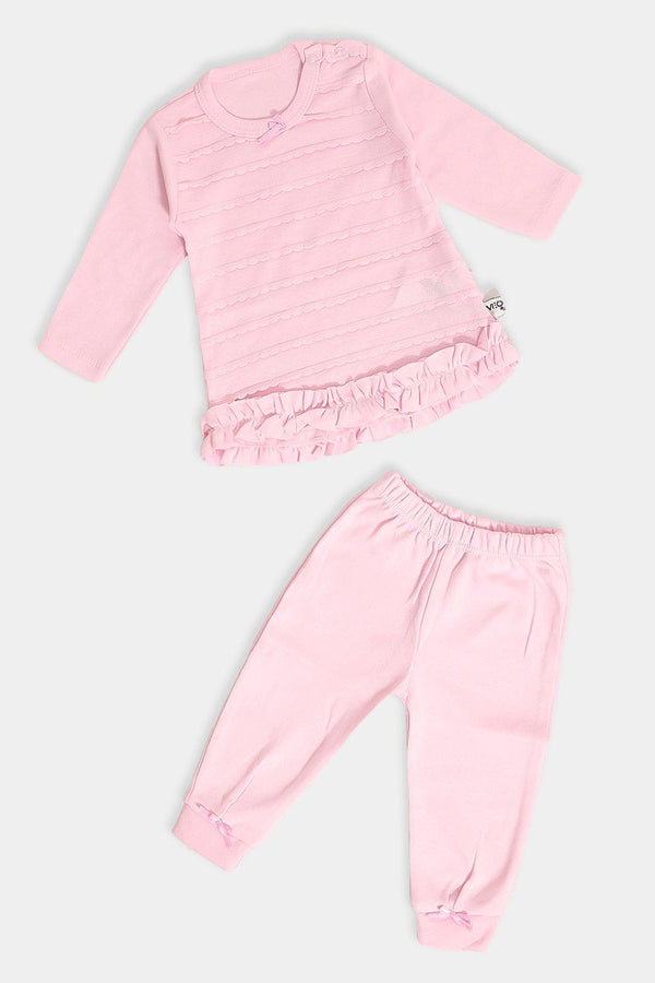 Pink Frills All Over Baby Girl Set - SinglePrice