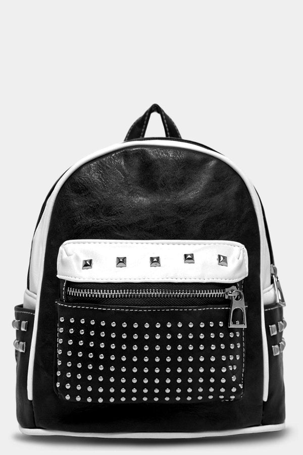 Black Studded Pocket Vegan Leather Mini Backpack - SinglePrice