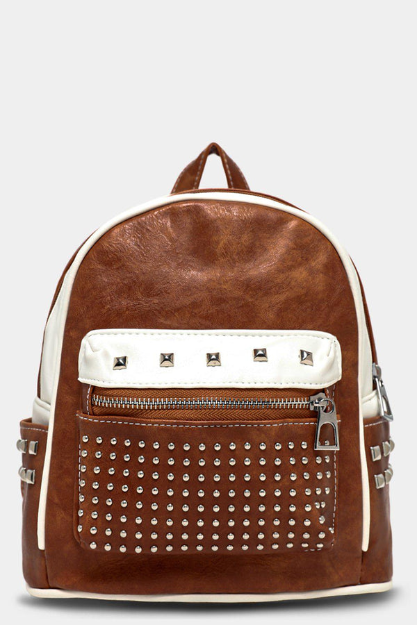 Tan Studded Pocket Vegan Leather Mini Backpack - SinglePrice