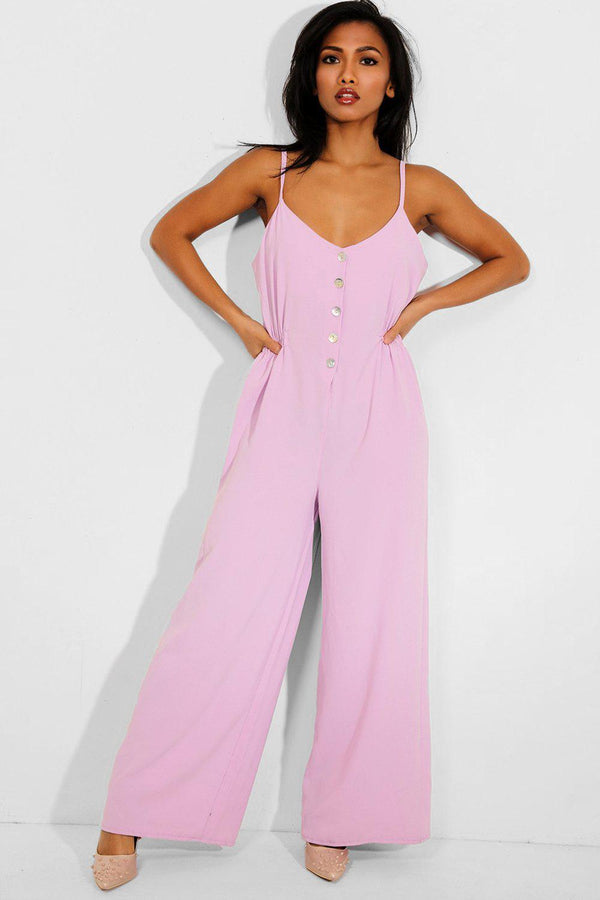 Dark Lilac Button Front Wide Leg Jumpsuit - SinglePrice