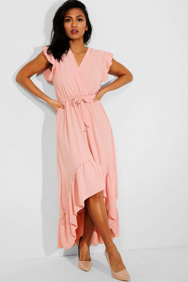 Pink Hi Low Frilled Hem Maxi Dress