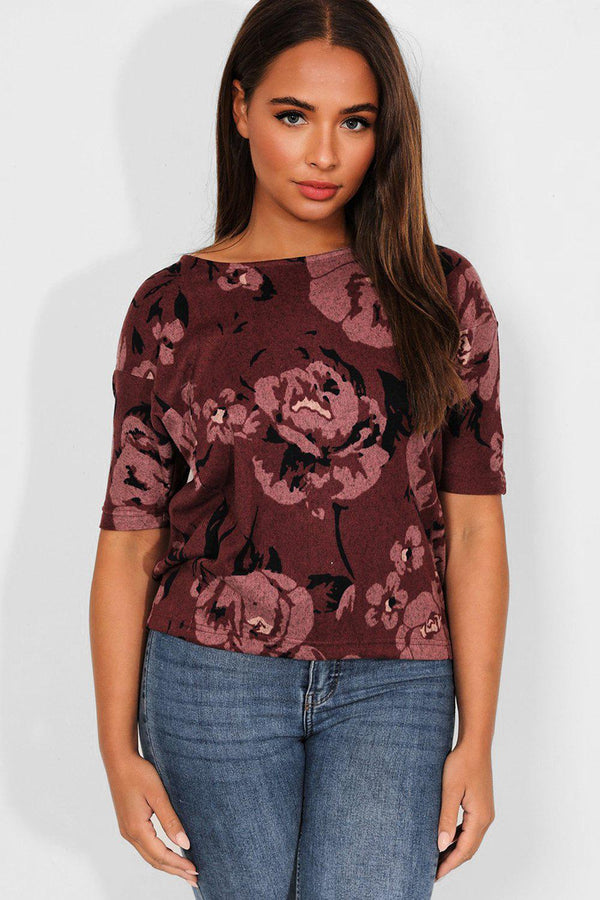 Wine Roses Print Soft Touch Top - SinglePrice