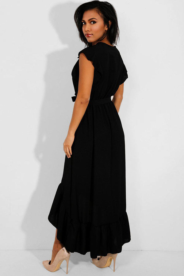 Black Hi Low Frilled Hem Maxi Dress