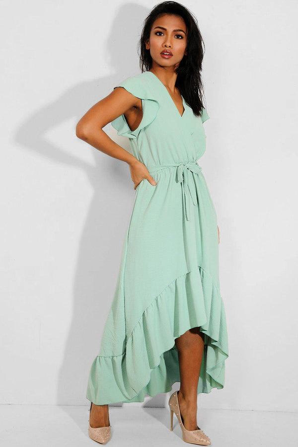Mint Hi Low Frilled Hem Maxi Dress