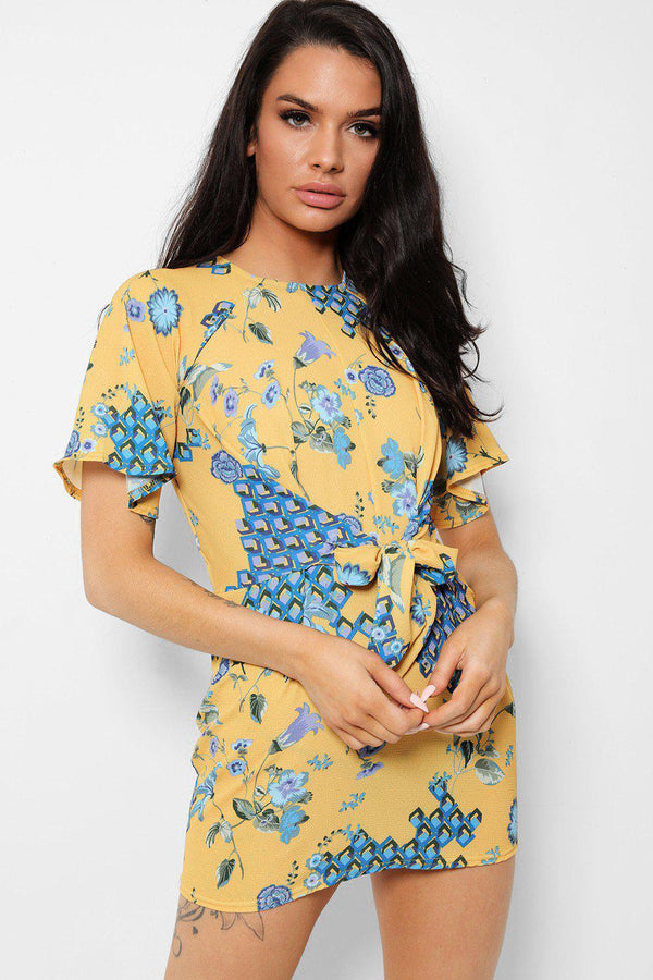 Yellow Floral Front Tie Tunic Dress - SinglePrice