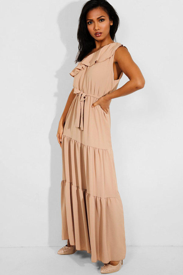Beige Frill Neckline One Shoulder Tiered Maxi Dress - SinglePrice