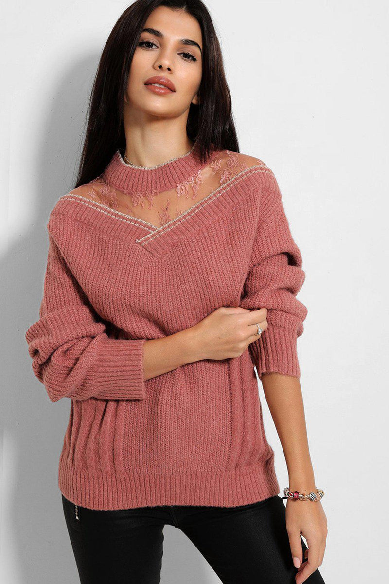 Pink Delicate Lace Neck Panel Soft Knit Pullover - SinglePrice