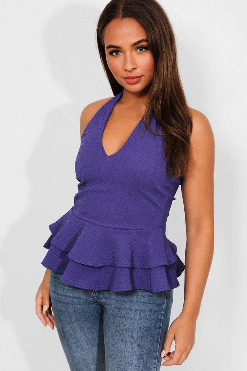 Purple Textured Layered Waist Halterneck Top - SinglePrice