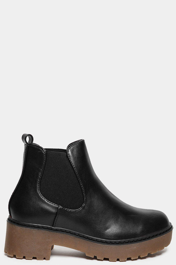 Black Low Heel Vegan Leather Chelsea Boots-SinglePrice