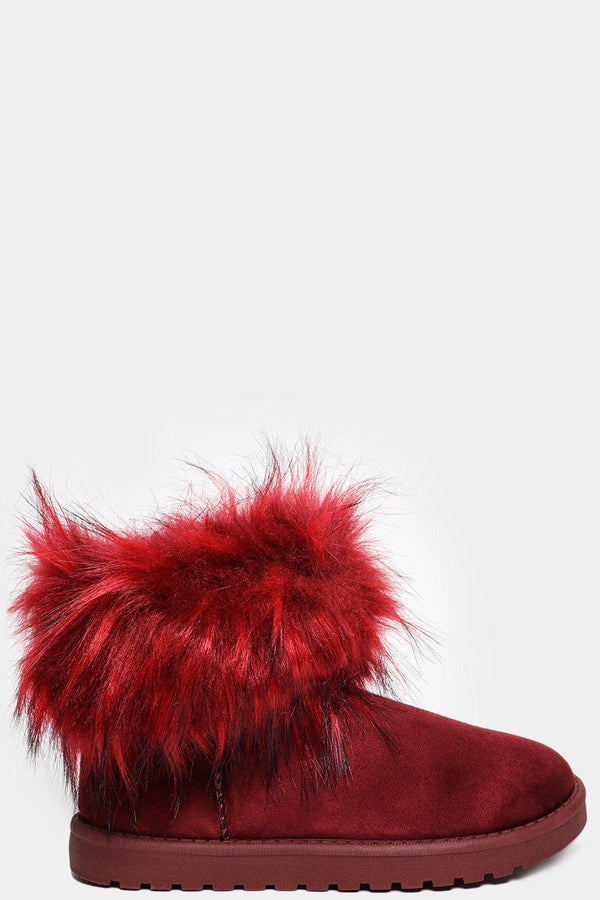 Red Faux Fur Vegan Suede Ankle Boots-SinglePrice