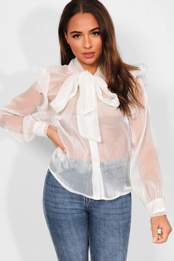 White Frills Shoulders Pussy-Bow Organza Shirt - SinglePrice