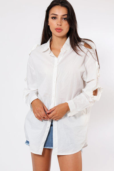 Cut Out Sleeve Detail Long White Shirt-SinglePrice