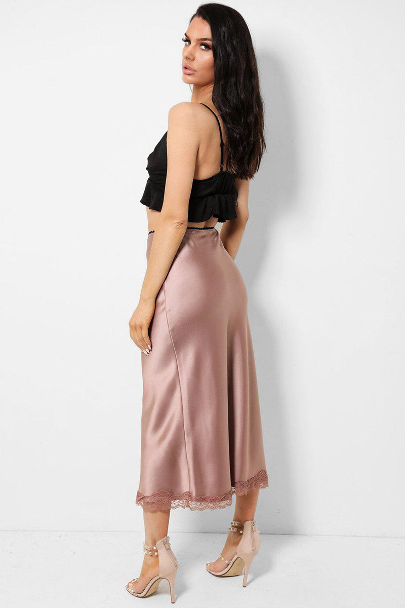 Pink Lace Trim Satin Maxi Skirt - SinglePrice